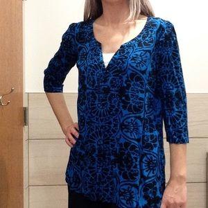 PLENTY TRACY REESE blue black print tunic M